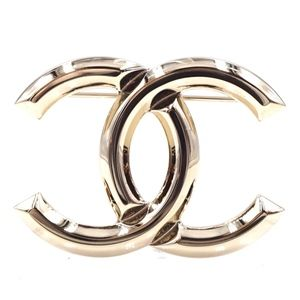 Champagne Cc Hardware Brooch Pin Charm
